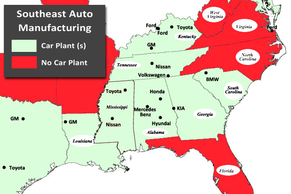 southeast car manufacturing