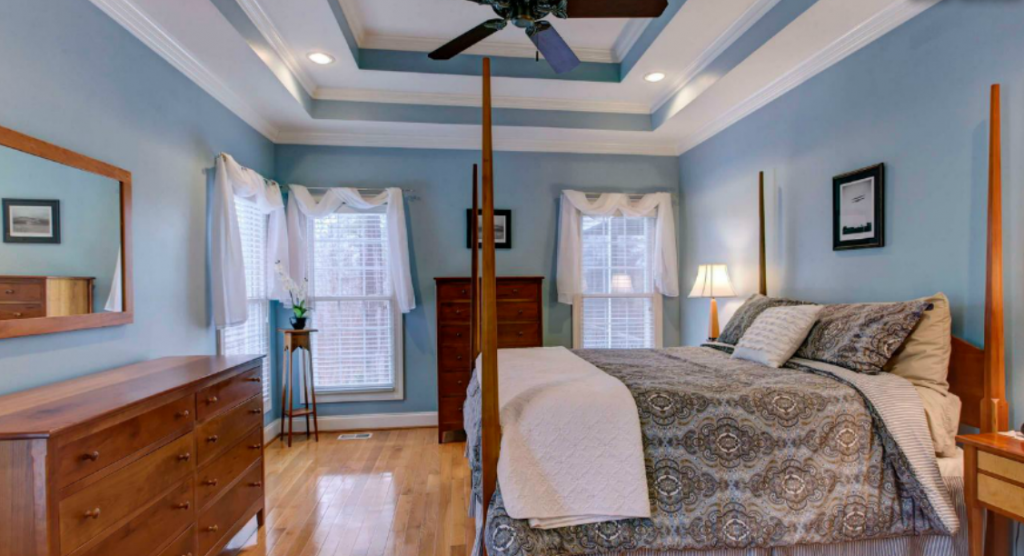 The 9-foot trey ceilings create an updated, elegant feel to the master bedroom.