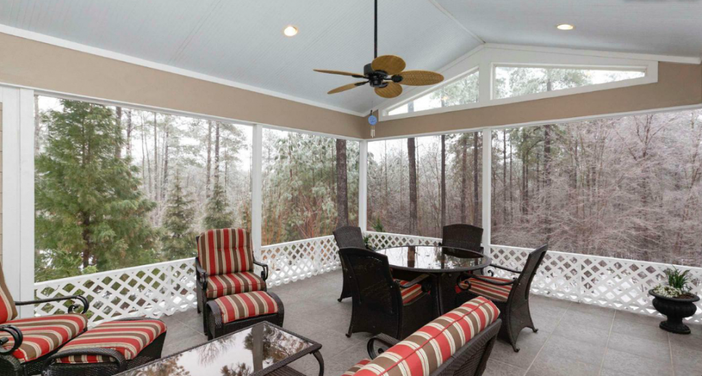 Enjoy the stunning landscape from your screened-in porch.